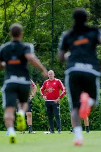 SWANSEA, WALES - JULY 2: Ian Mitchell, Swansea City's performance psychologist looks on during the Swansea City training session at the Landore Training Centre on July 2, 2015 in Swansea, Wales.  (Photo by Athena Pictures/Getty Images)